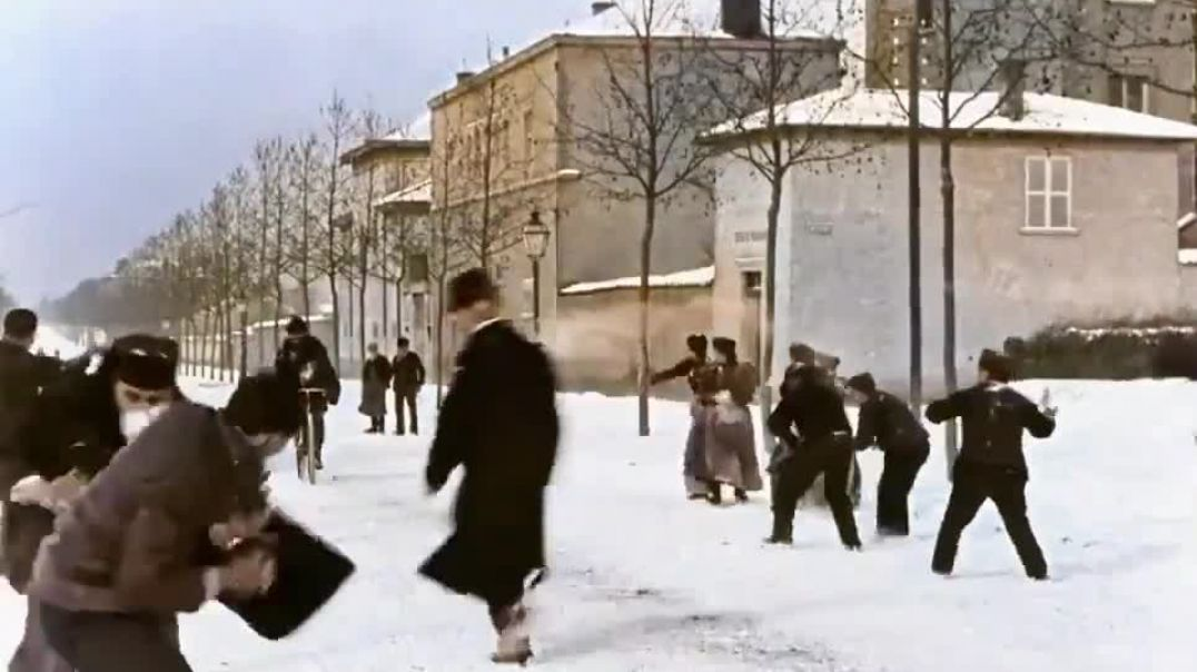 Snowball fight  in France.